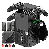 FASTSNAIL Filtro de polvo y soporte de auriculares para Xbox Series X, soporte de mando para consola Xbox Series X, con 2 juegos de agarres de pulgar
