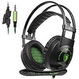 SADES Auriculares cerrados (Con Micrófono) Estéreo Auriculares Para Gaming 3.5MM Control de volumen Para PC/PS4/smartphones/tablets/nuevo xbox one (Negro&Verde)