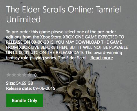ficha The Elder Scrolls Xbox Store