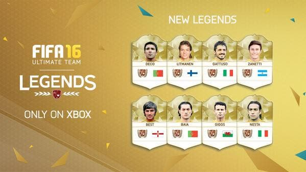 Nuevas leyendas para FIFA 16 Ultimate Team