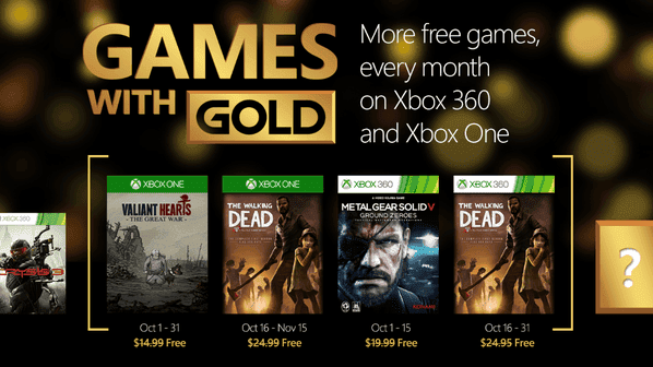 Games With Gold de Octubre para Xbox One y Xbox 360