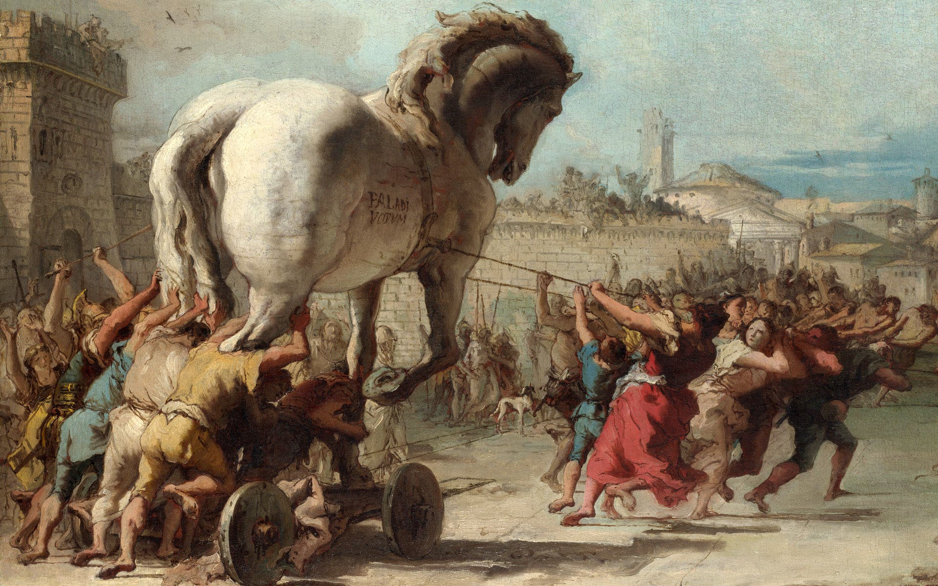 Full title: The Procession of the Trojan Horse into Troy Artist: Giovanni Domenico Tiepolo Date made: about 1760 Source: http://www.nationalgalleryimages.co.uk/ Contact: picture.library@nationalgallery.co.uk Copyright (C) The National Gallery, London