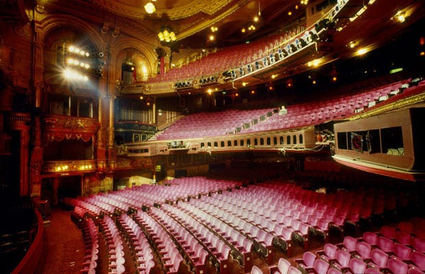 ACXM75 wide side view of audiotrium in the London Palladium theatre designed by architect Frank Matcham it was opened in 1910 and seats 2 300 has a vast interior richly ornated and gilded auditorium has become familiar to TV from the 1950 s on with weekly variety shows broadcast a huge list of stars have played here