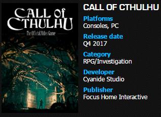 Nuevos detalles sobre el lanzamiento de Vampyr y de Call of Cthulhu 2