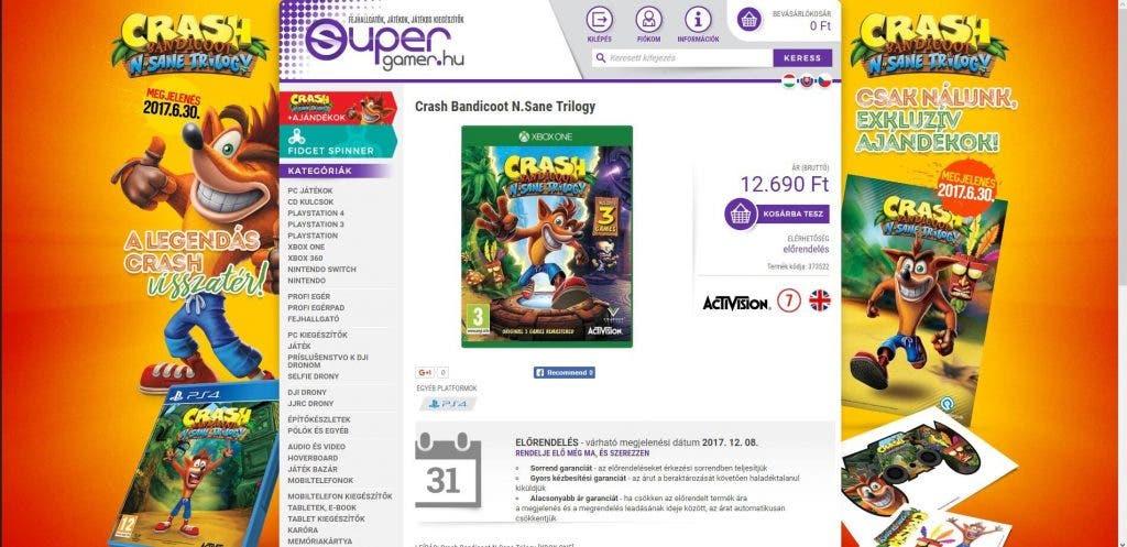Una tienda descubre Crash Bandicoot N Sane Trilogy para Xbox One 2