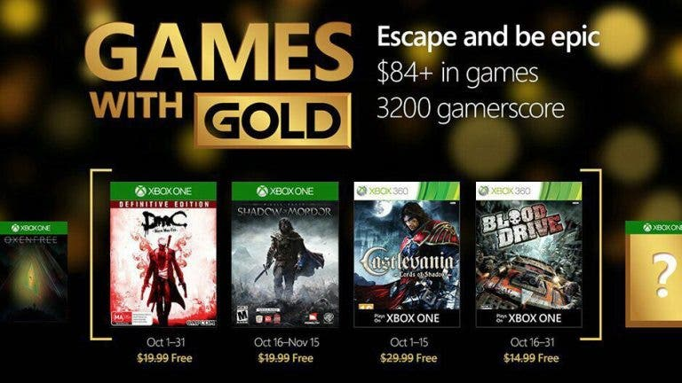 Se han filtrado los posibles Games With Gold de octubre 2