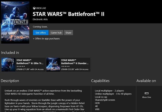 Star Wars Battlefront II llegará finalmente a 4K en Xbox One X 2