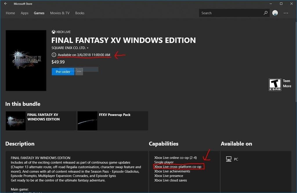 Final Fantasy XV Windows Edition ofrecerá soporte al Cross Play entre Xbox One y Windows 10 2