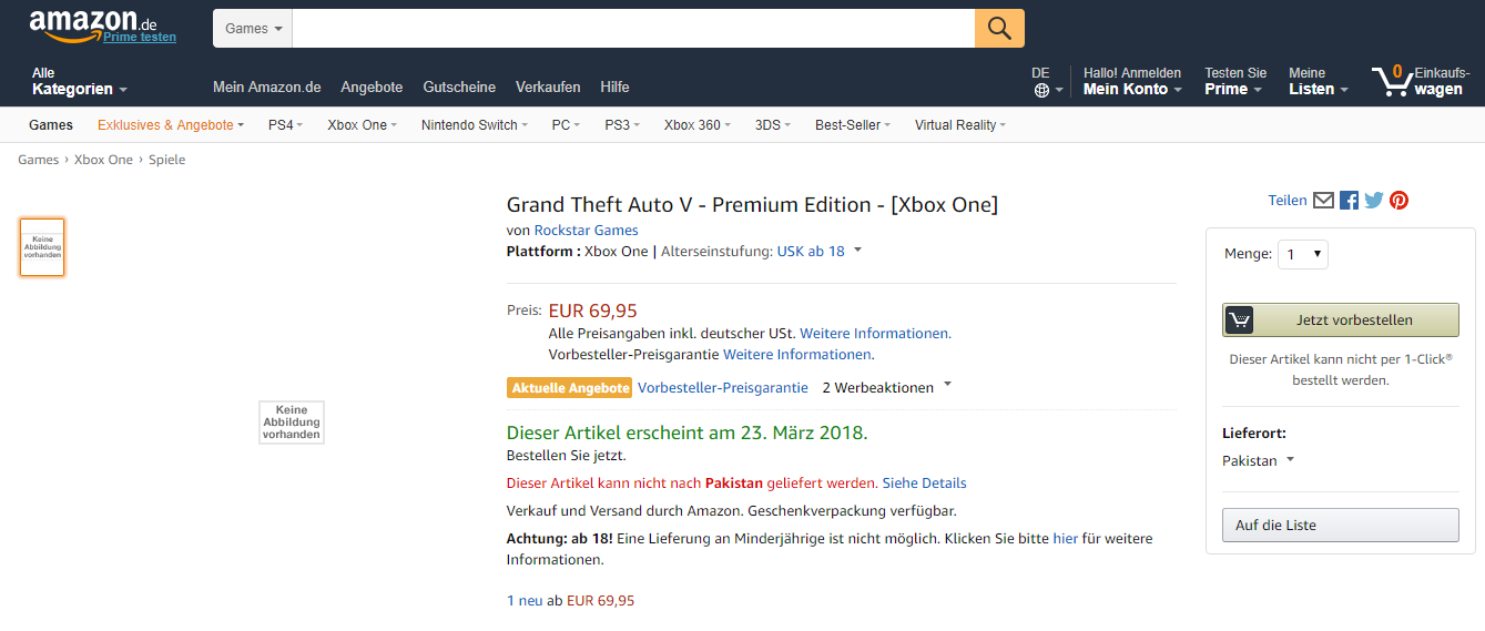 Grand Theft Auto V Premium Edition listado en Amazon 2