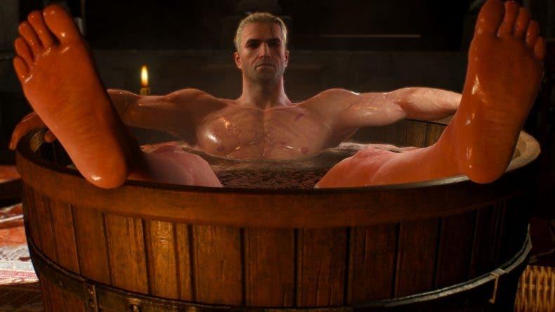 Impresionante figura de Geralt de Rivia, de The Witcher 3, dándose un baño 1