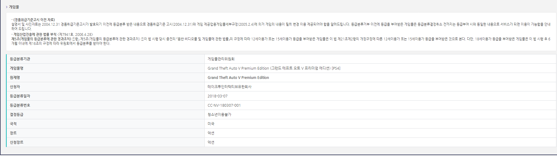 Grand Theft Auto V Premium Edition es catalogado en Corea 2