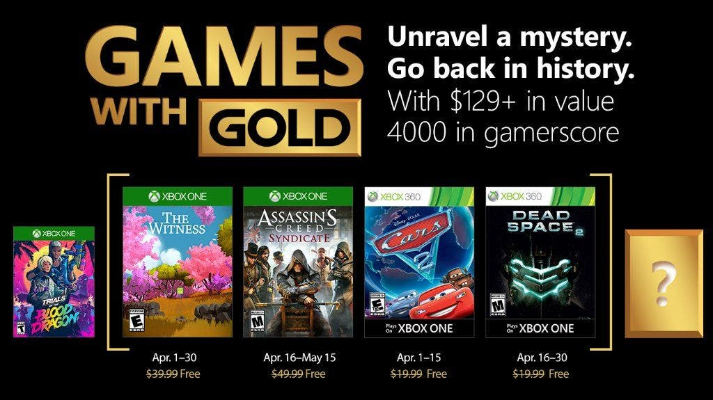 Estos son los juegos Games With Gold de abril 2018 para Xbox One 2
