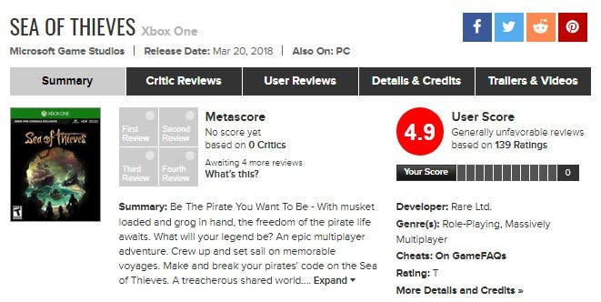 Sea of Thieves and its ridiculous scores at Metacritic 1