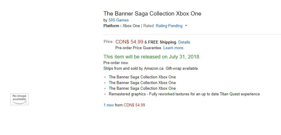 The Banner Saga Collection aparece listado en una tienda 2