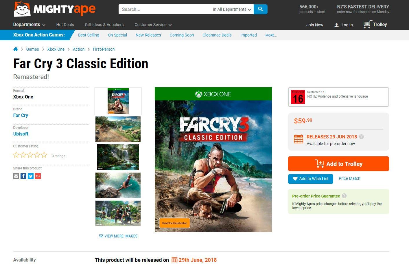 Una tienda online presenta la edición física de Far Cry 3 Classic Edition 2