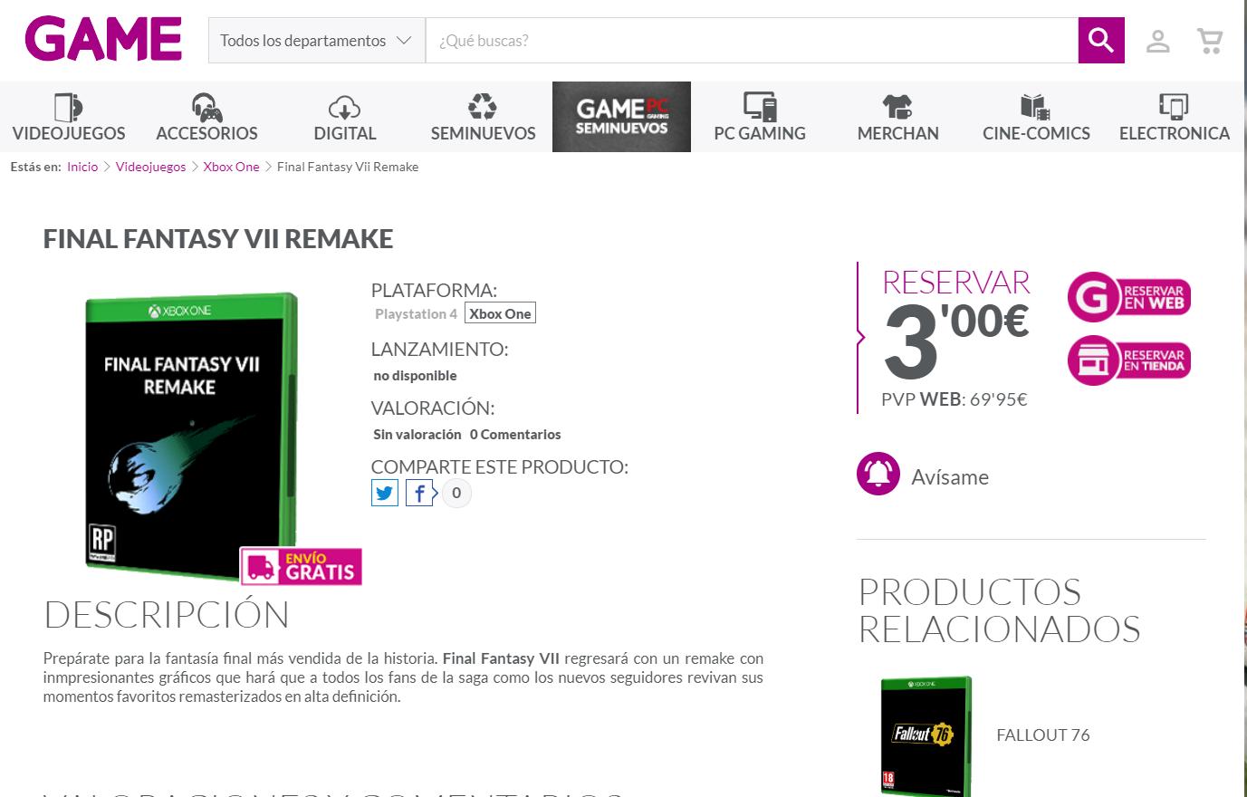 Final Fantasy VII Remake para Xbox One aparece en otra tienda 2
