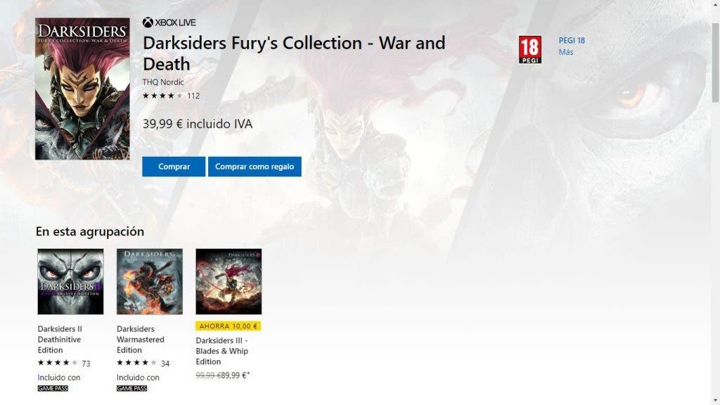 Microsoft lista por error Darksiders 3 junto a los dos primeros a un precio de ganga 2