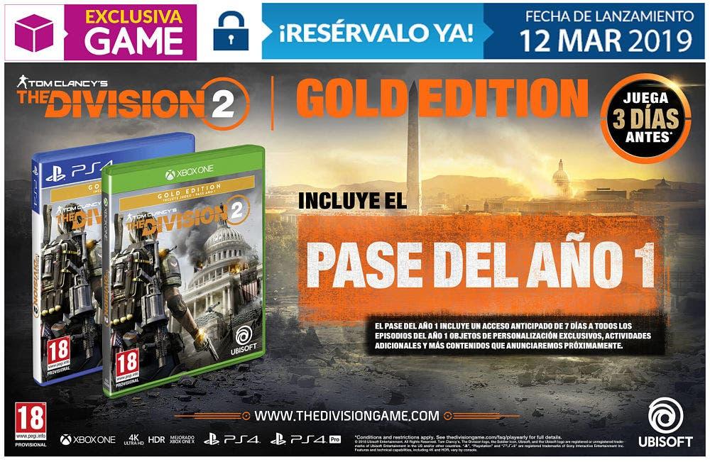 Las tres ediciones de The Division 2 que se venderán en GAME 3