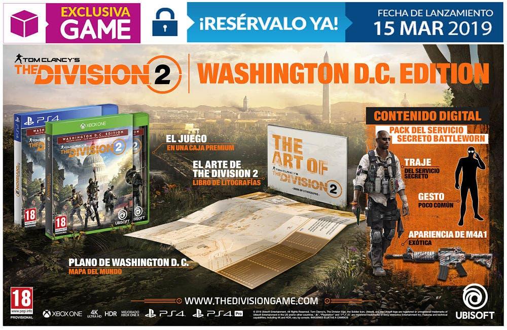 Las tres ediciones de The Division 2 que se venderán en GAME 2