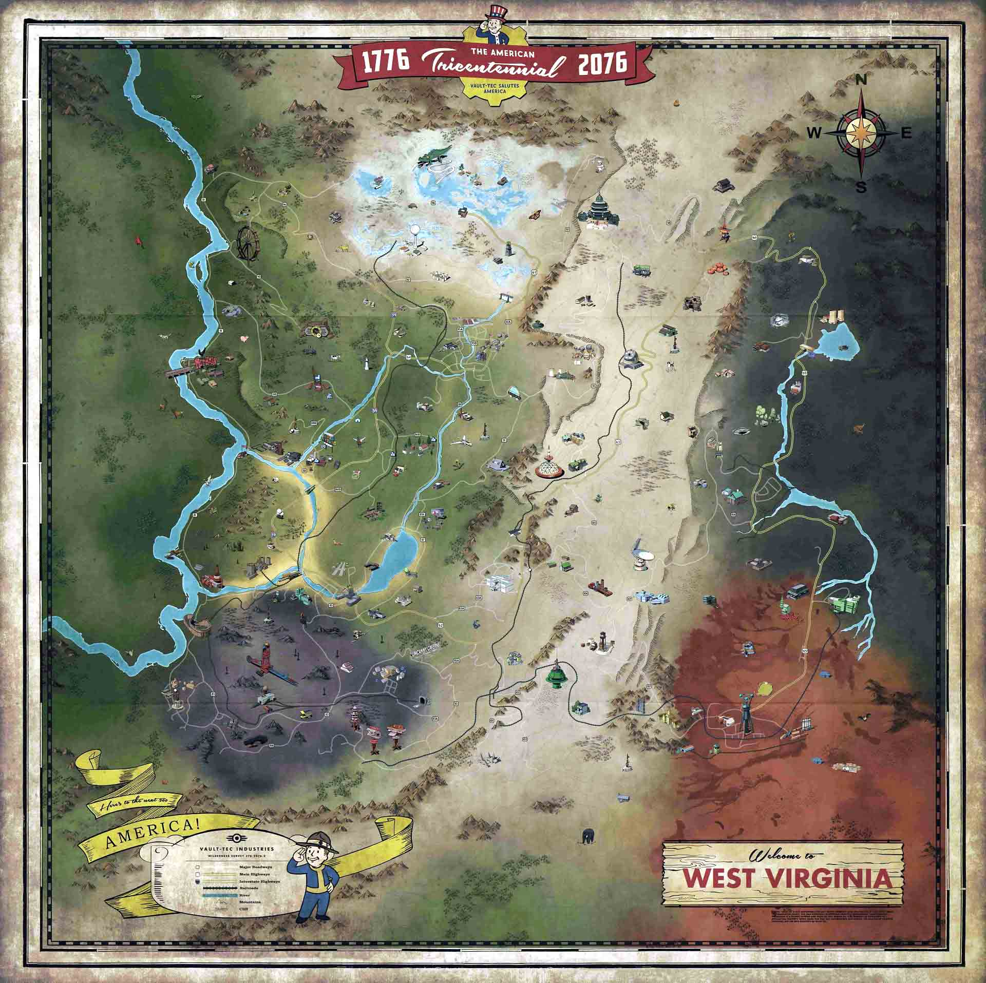 Bethesda presenta oficialmente el mapa completo de Fallout 76 2