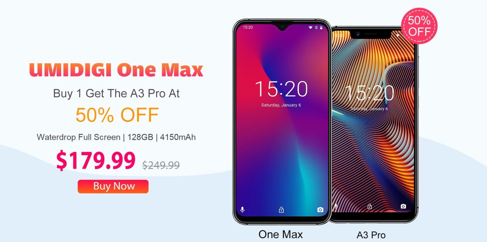 Oferta por el Umidigi One Max y el A3 Pro de hasta el 50% 2