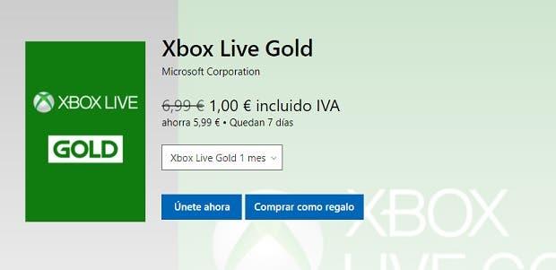 Consigue la oferta de 1 mes de Xbox Live Gold a 1€ en Xbox Store 2