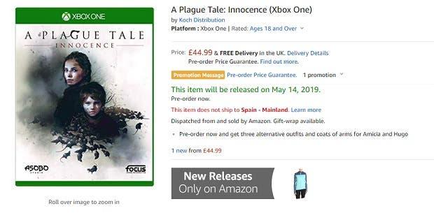 Filtrada la portada y precio de A Plague Tale: Innocence para Xbox One 2