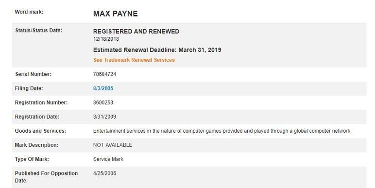 La ip de Max Payne, renovada y registrada por Take-Two Interactive 2