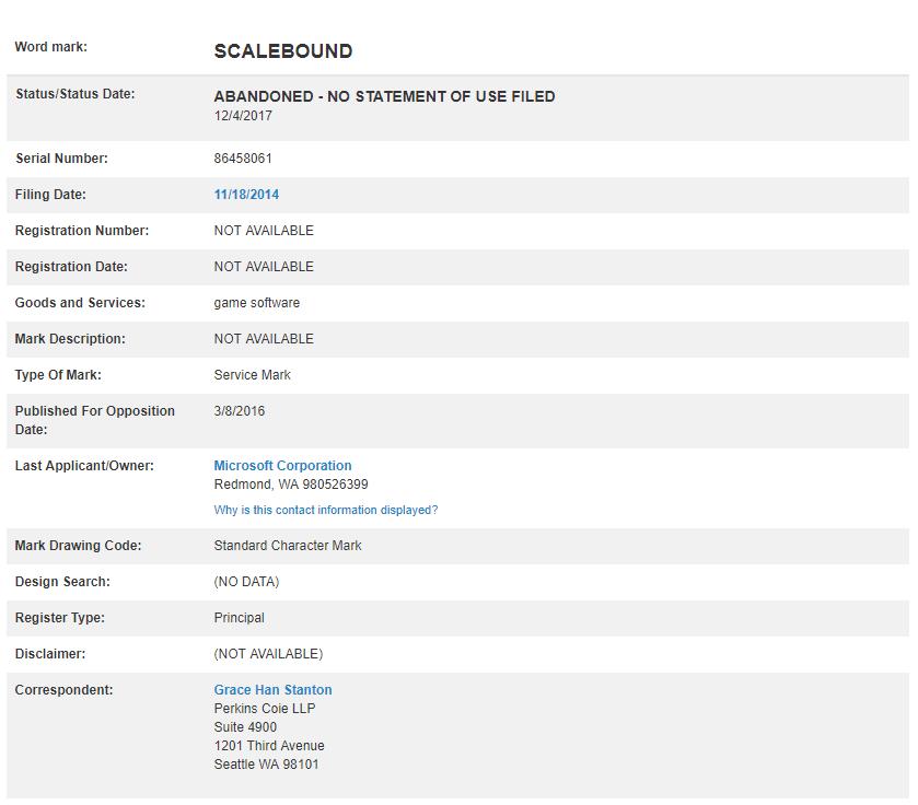 La IP de Scalebound sigue perteneciendo a Microsoft según Trademarkia 2