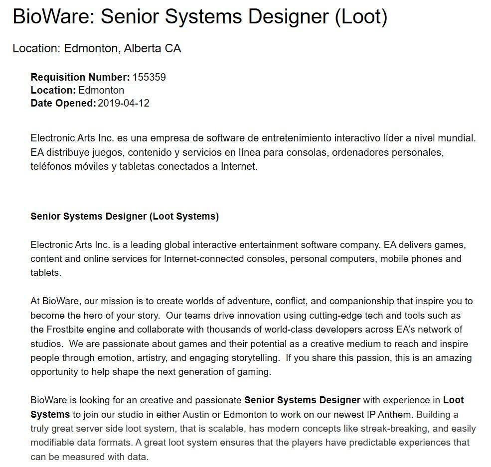 Bioware sigue trabajando en mejorar el sistema de recompensas de Anthem 1