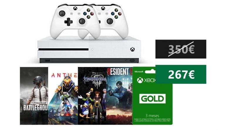 Aprovecha esta oferta para conseguir un pack muy completo de Xbox One S con 4 juegazos por 275€ 1