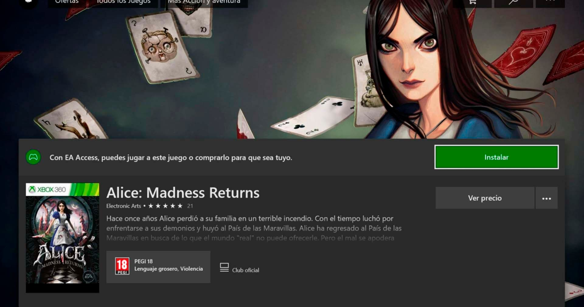 Alice Madness Returns disponible gratis vía EA Access 2