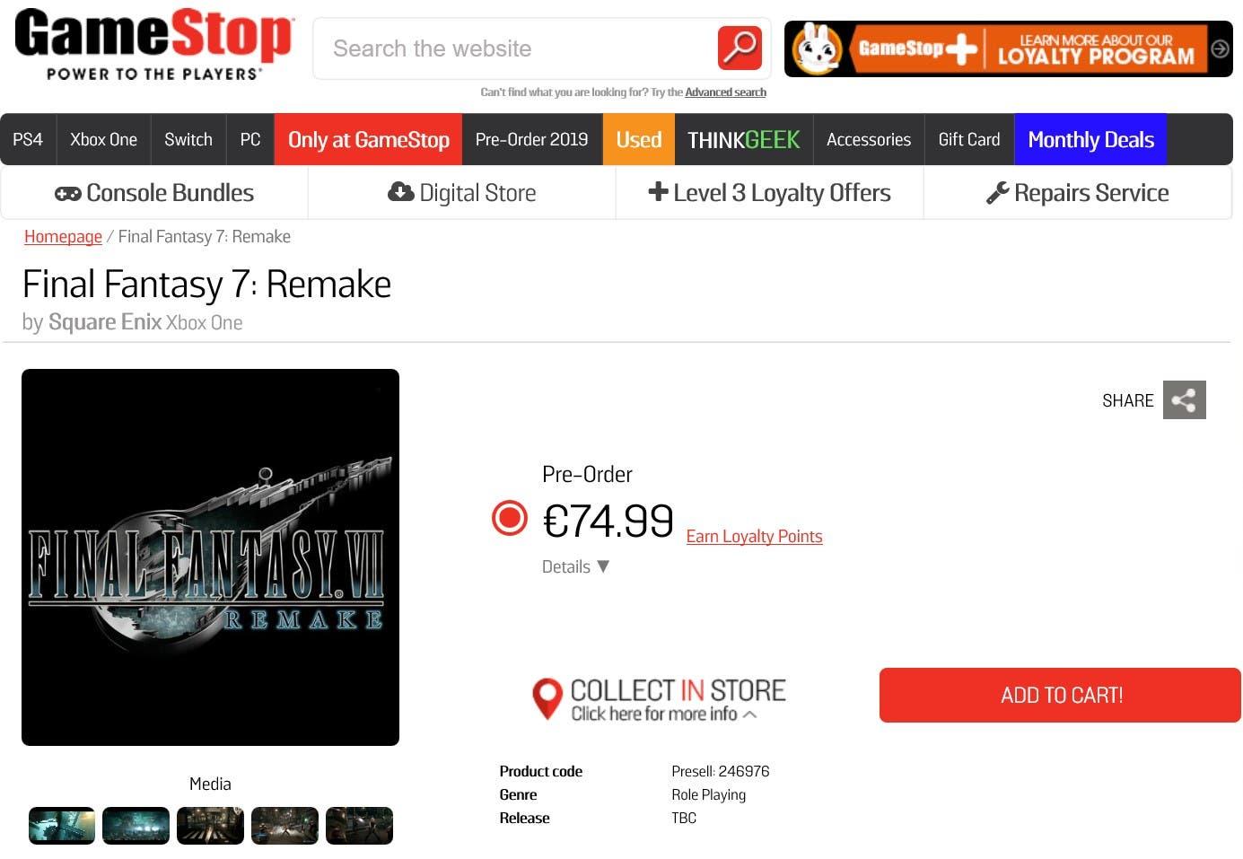 Final Fantasy VII Remake aparece listado para Xbox One en Gamestop 2