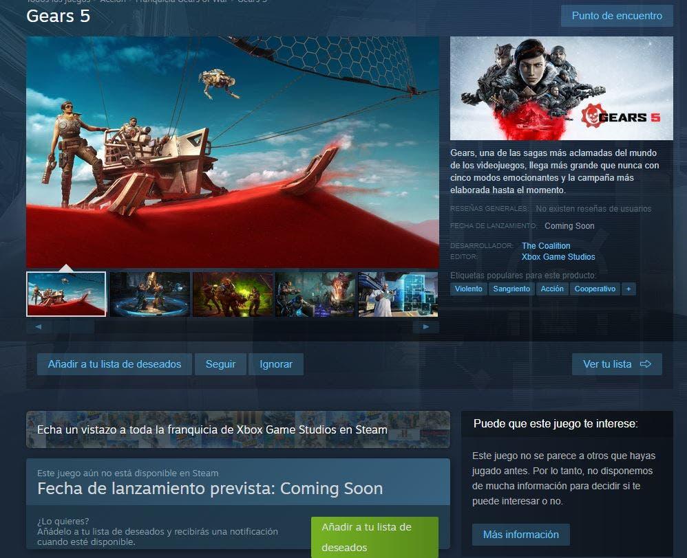Xbox Game Studios ya está en Steam, incluyendo Gears 5 2