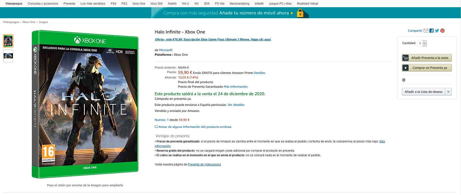 Amazon abre las reservas de Halo Infinite para Xbox One y con descuento 1