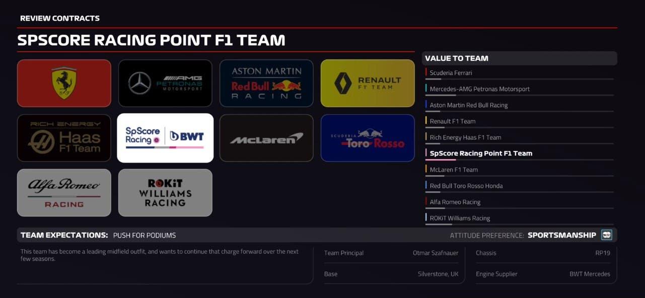 El modo carrera de F1 2019 desvela sus opciones iniciales en un nuevo gameplay