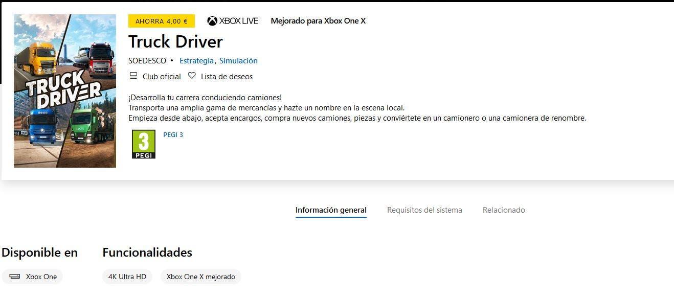 Truck Driver confirma 4K y mejoras en Xbox One X, ya está disponible para reserva en la Xbox Store