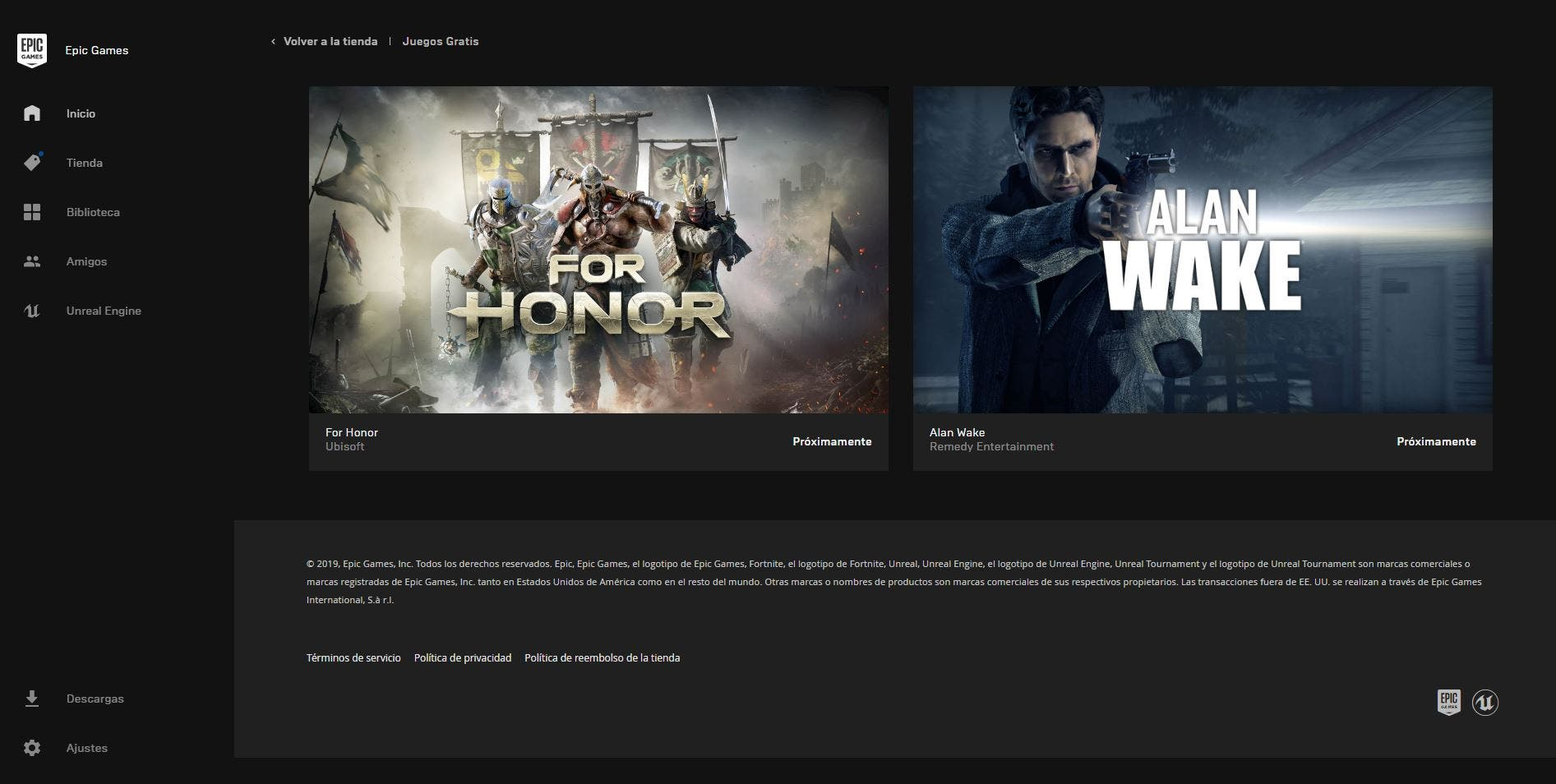 Alan Wake y For Honor son los próximos juegos gratuitos de la Epic Store