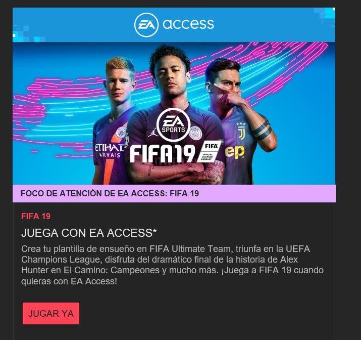FIFA 19 está disponible gratis vía EA Access