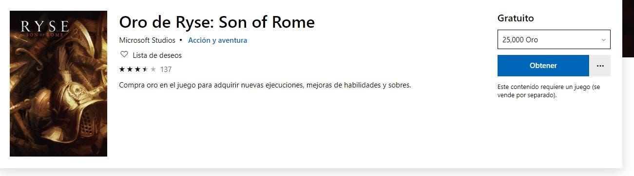 Consigue gratis oro para Ryse: Son of Rome en la Xbox Store