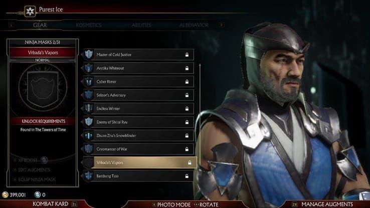 Ya disponible la variante de Sub-Zero sin máscara en Mortal Kombat 11