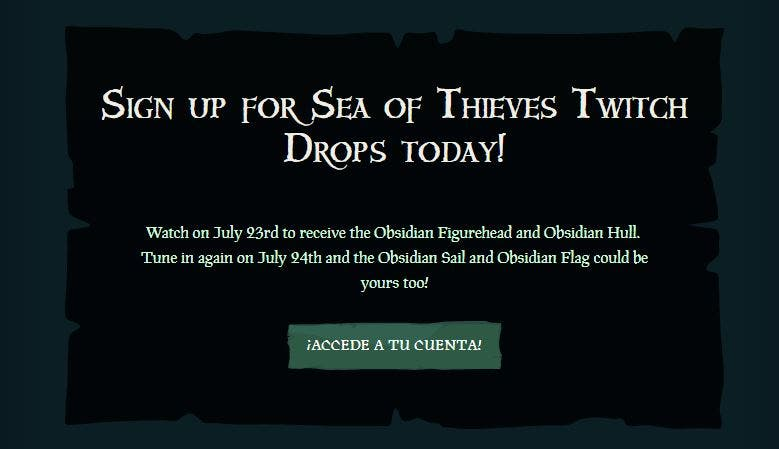 Consigue accesorios gratis en Sea of Thieves solo por ver el evento de Twitch Rivals 1