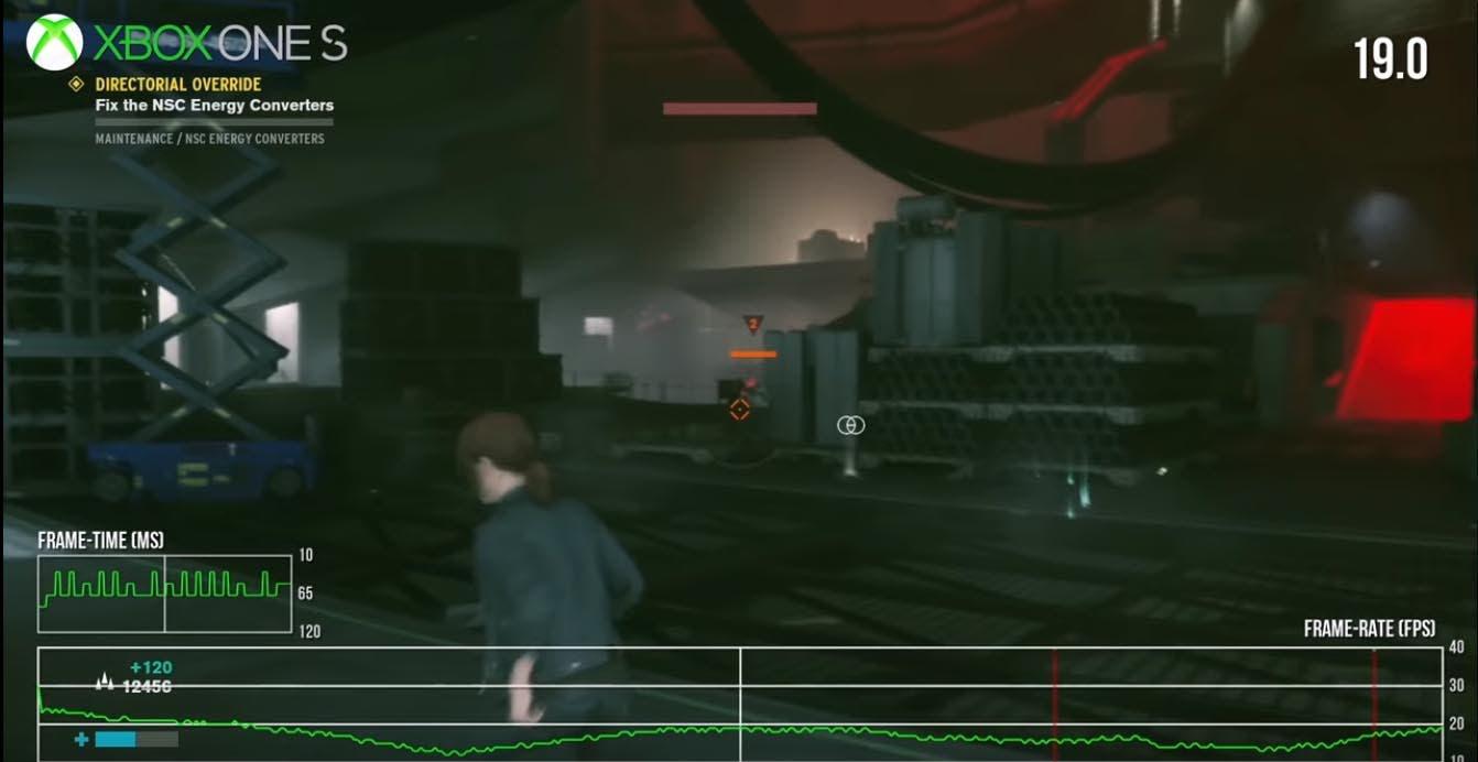 Comparativa de rendimiento de Control, donde Xbox One X es la única que mantiene el tipo