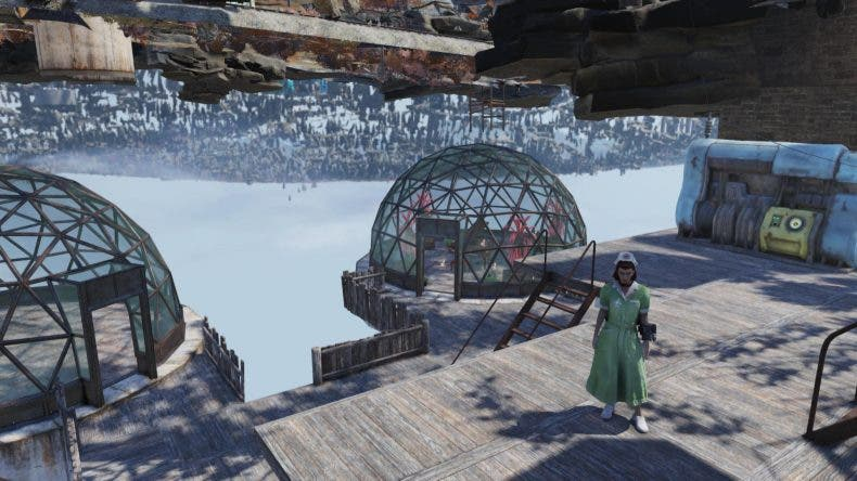Una jugadora de Fallout 76 aprovecha un fallo del juego para construir su campamento bajo el suelo 1