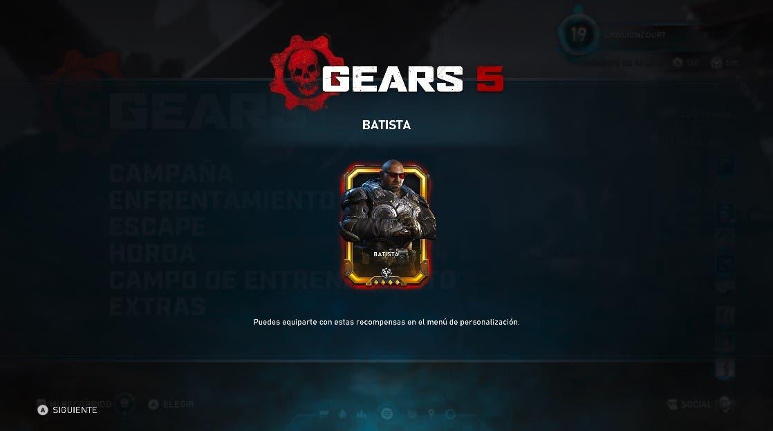 Dave Bautista ya está disponible como personaje jugable en Gears 5 2