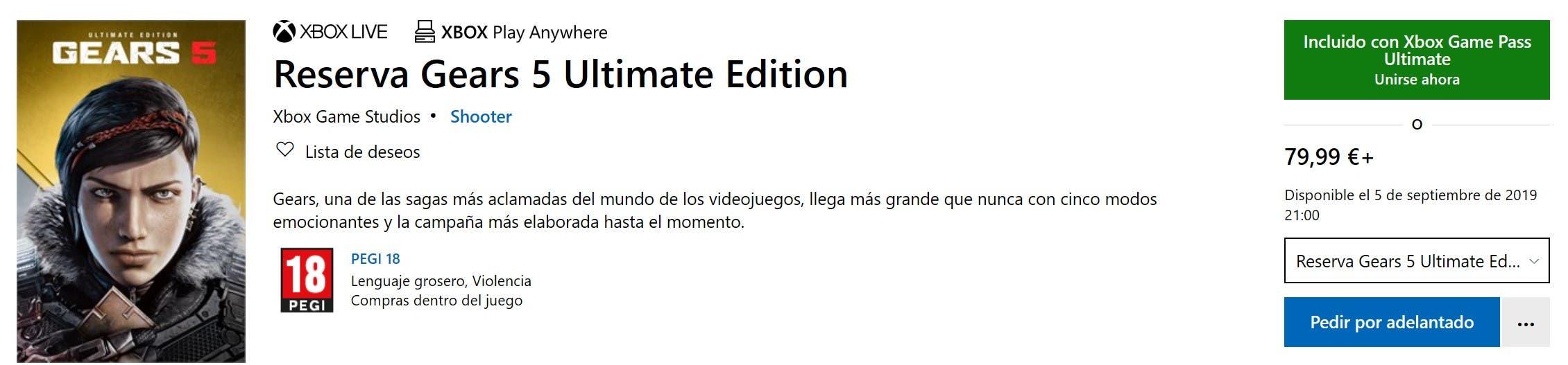 ¿Cuándo se podrá jugar a Gears 5 Ultimate Edition? 2
