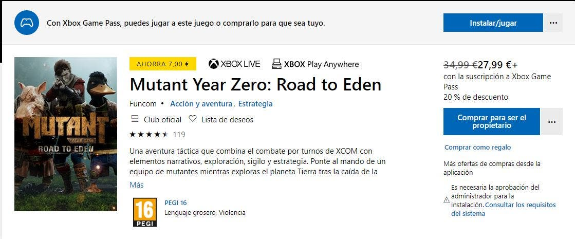 Mutant Year Zero: Road to Eden ya es juego Xbox Play Anywhere