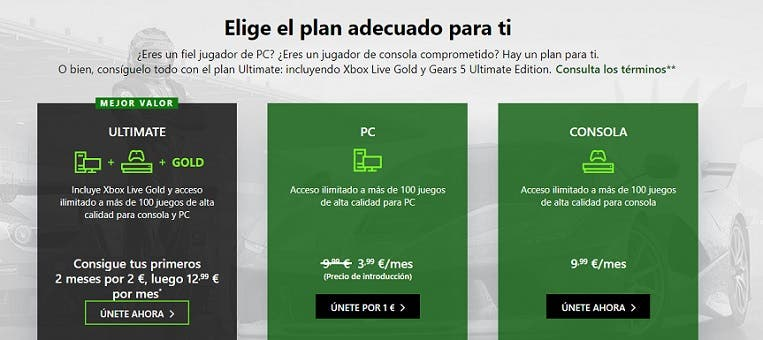 Xbox Game Pass suscripciones