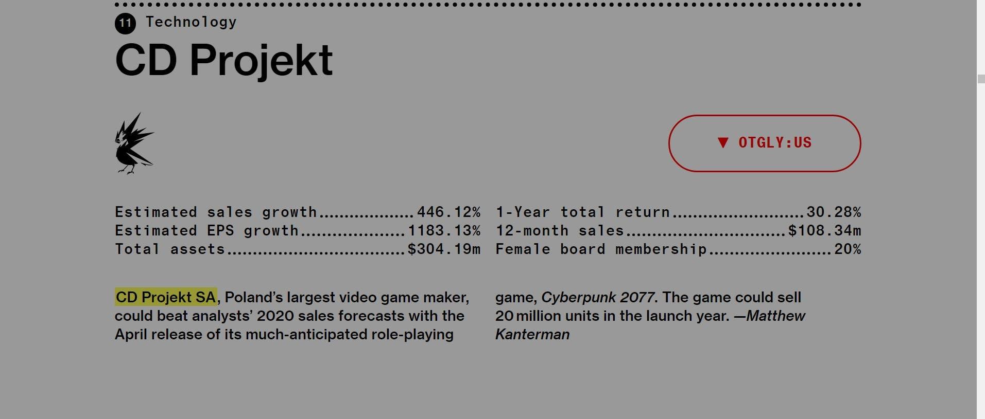 Cyberpunk 2077 venderá 20 millones de copias en su primer año según Bloomberg 2