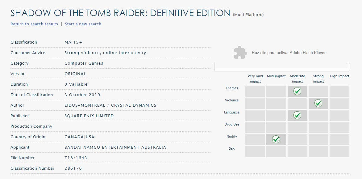 Regresan los rumores sobre Shadow of the Tomb Raider: Definitve Edition